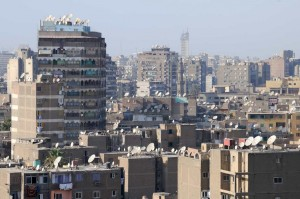 Satellite dishes on Cairo rooftops.