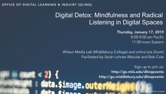 image with details about the radical listening event