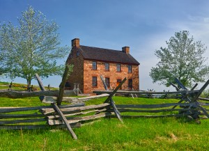 The old stone house in the center of the Manassas Civil War battlefield site near Bull Run