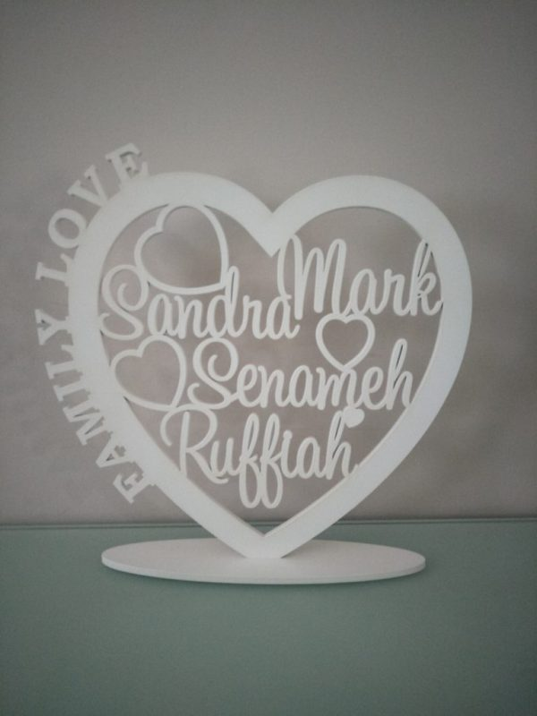 Personalised Wooden Family Heart 8