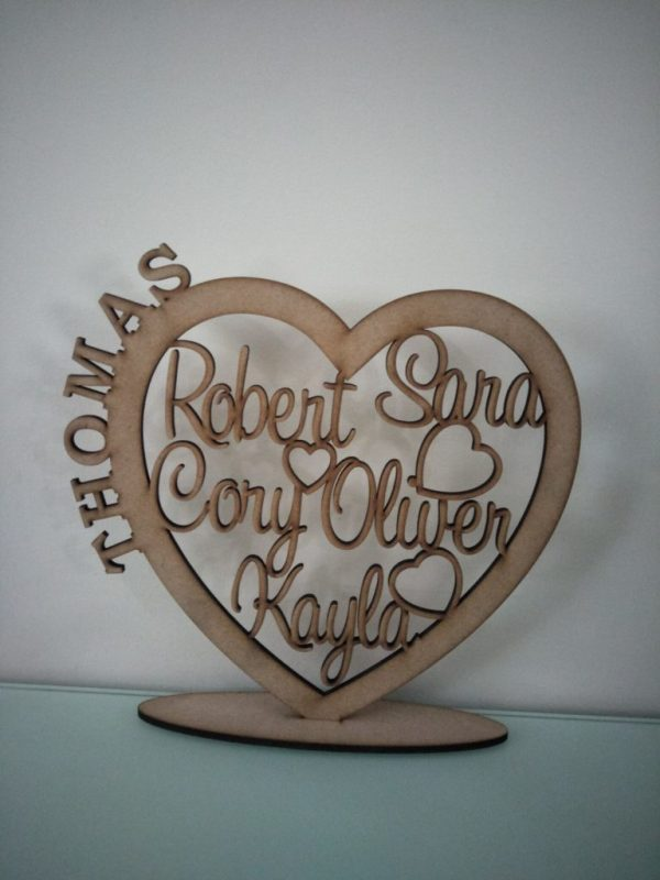 Personalised Wooden Family Heart RAW