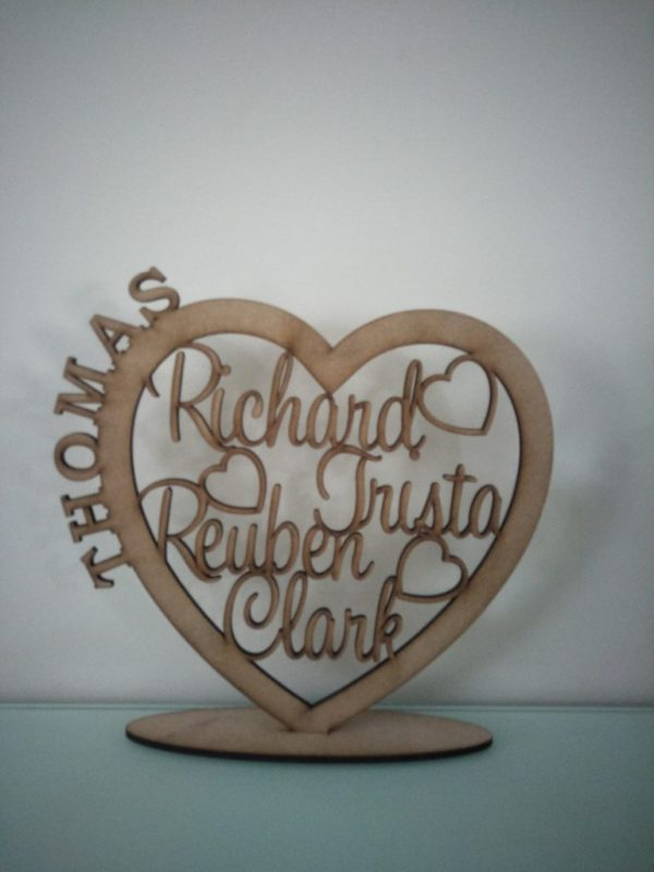Personalised Wooden Family Heart RAW 1