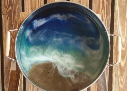 Resin Beach Design Silver Serving Tray