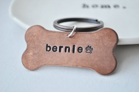 Personalized Your own Hand Stamped Copper Dog Bone PET ID Tag - As seen in the May 2012 Etsy Finds Email