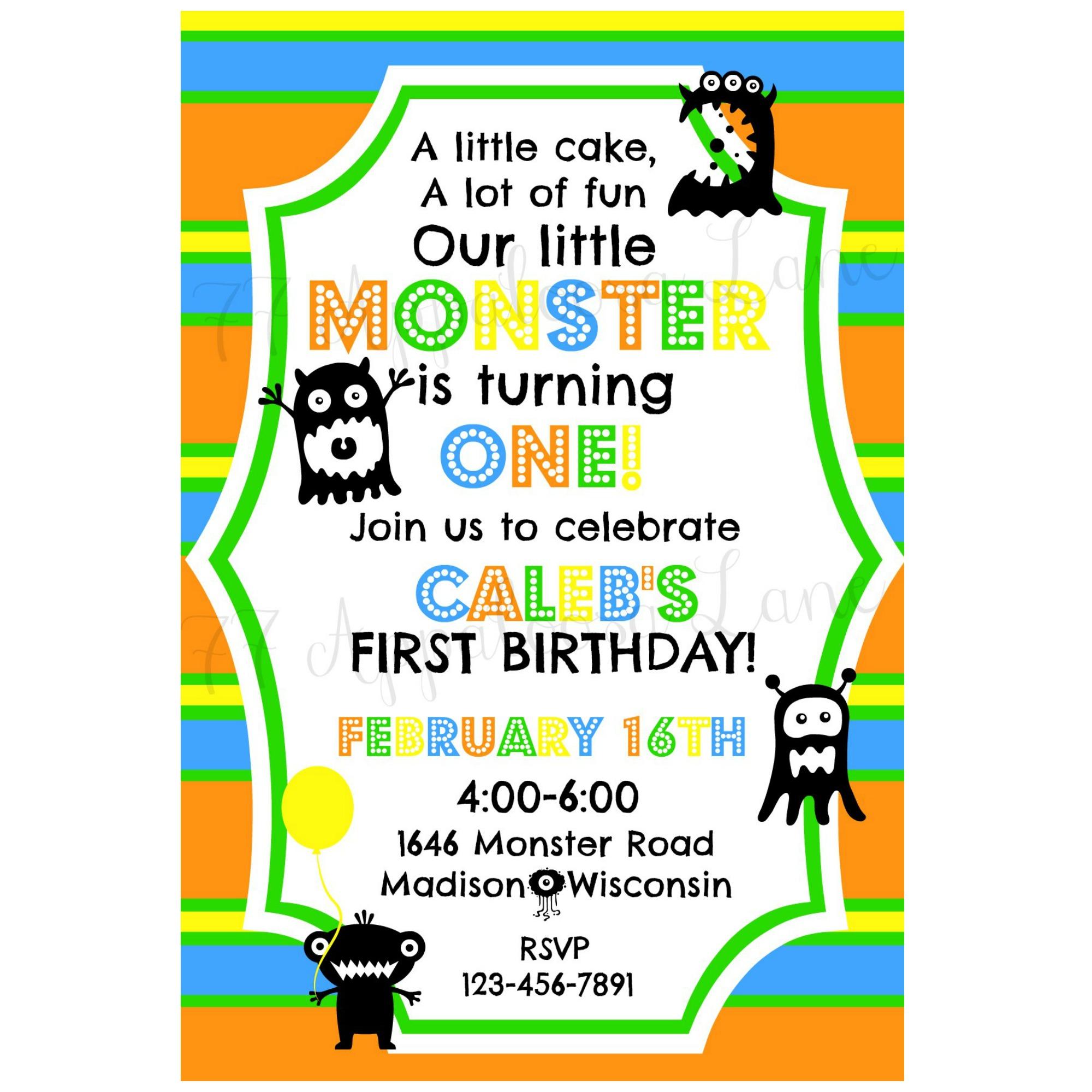 little monster birthday invitation 77