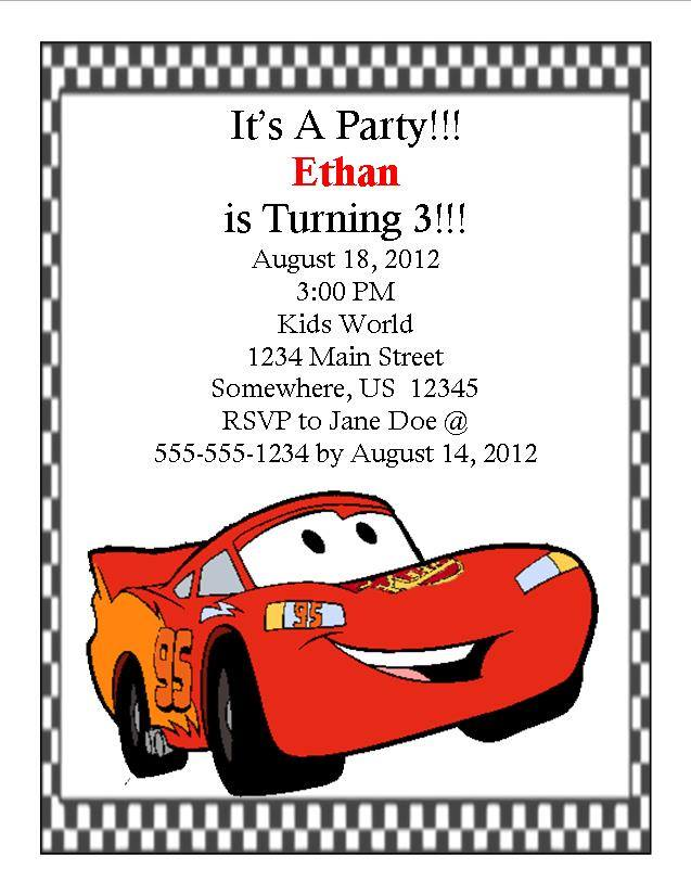 disney cars birthday invitation 1