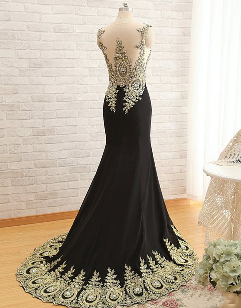 New Arrival Gold Lace Black Prom Dresses Mermaid Prom