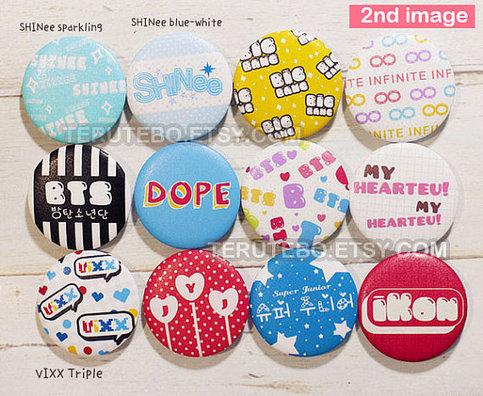 K Pop Pins Button Shinee Bts Vixx Jyj Ikon Super