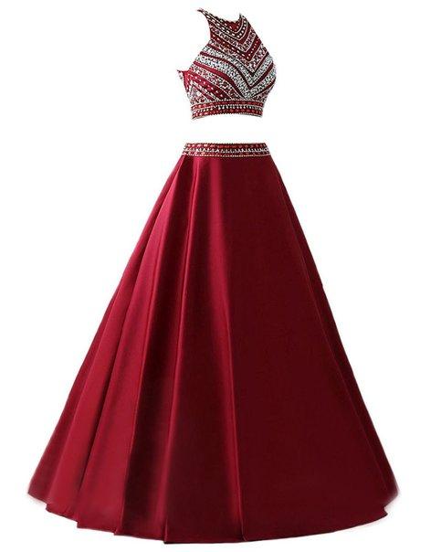 Burgundy Prom DressLong Prom Dresses2 Pieces Prom