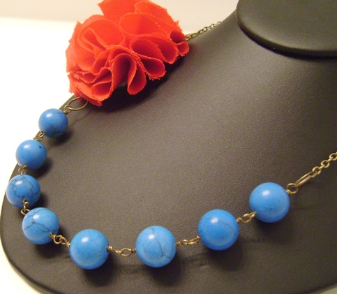 Red Fabric Flower, Blue Turquoise Beaded Vintage Necklace, Bridesmaid Necklace, Wedding Jewelry, Fabric Flower Necklace