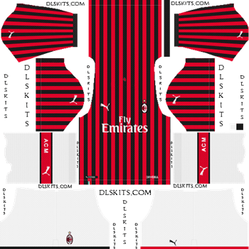 AC Milan Home Kit 2019-2020 - DLS 19 Kits - Dream League Soccer Kits URL