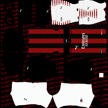 AC Milan Home Kit 2020 - Dream League Soccer Kits - DLS 20 Kits