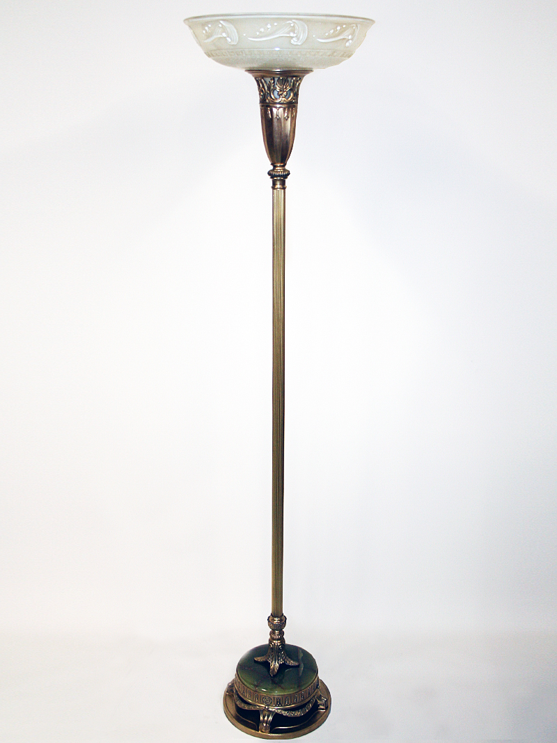 Vintage Torchiere W Ornate Brass Base C 1930
