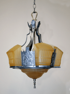 Vintage Restored Ceiling Light Fixtures   Antique Ceiling Fixtures  1 249 95 Contact Us      Geometric 7 Lt Deco Chandelier w  Floral Motif  c   1930