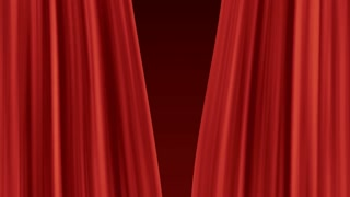 symmetrically opening red theater curtain 3d render
