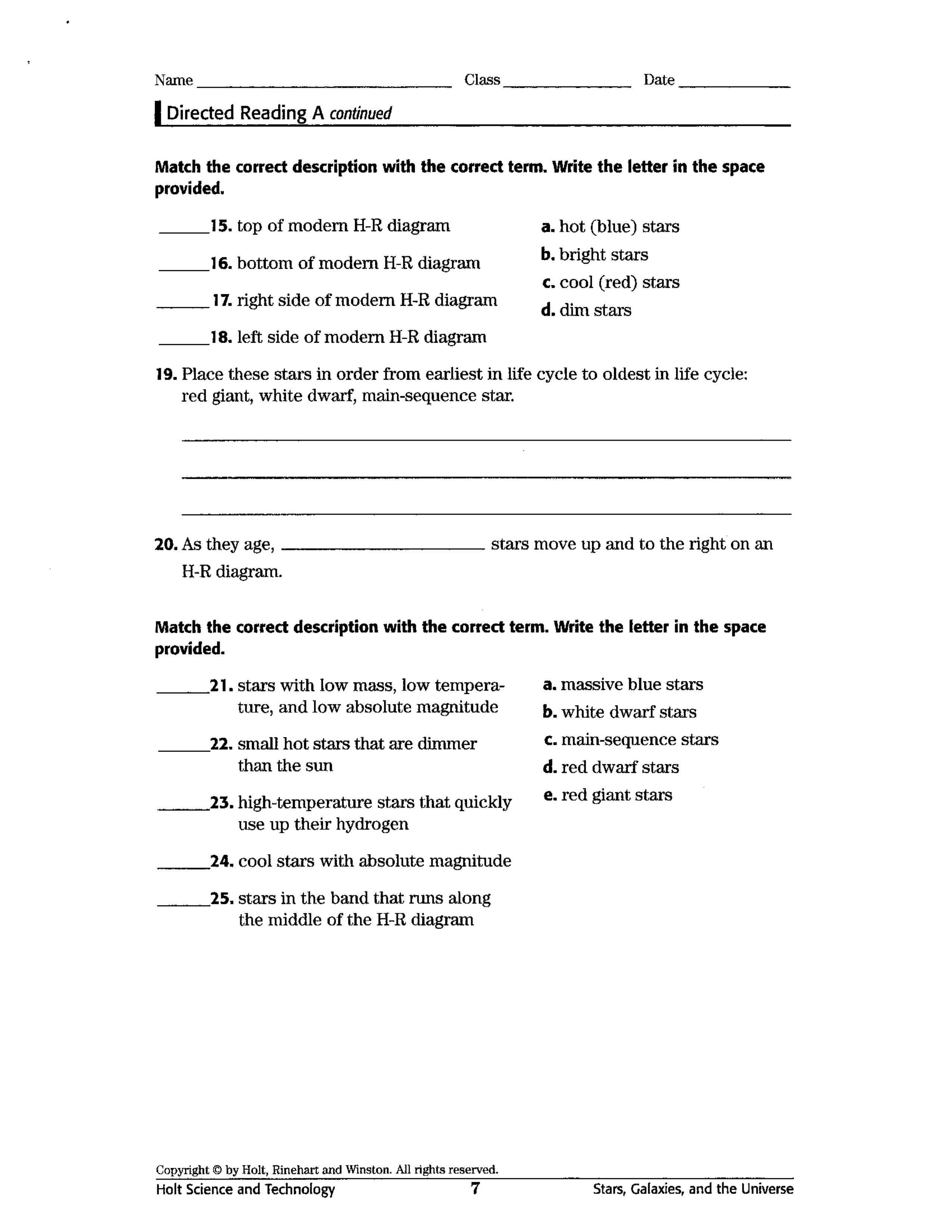 The Life Cycle Of Stars Worksheet