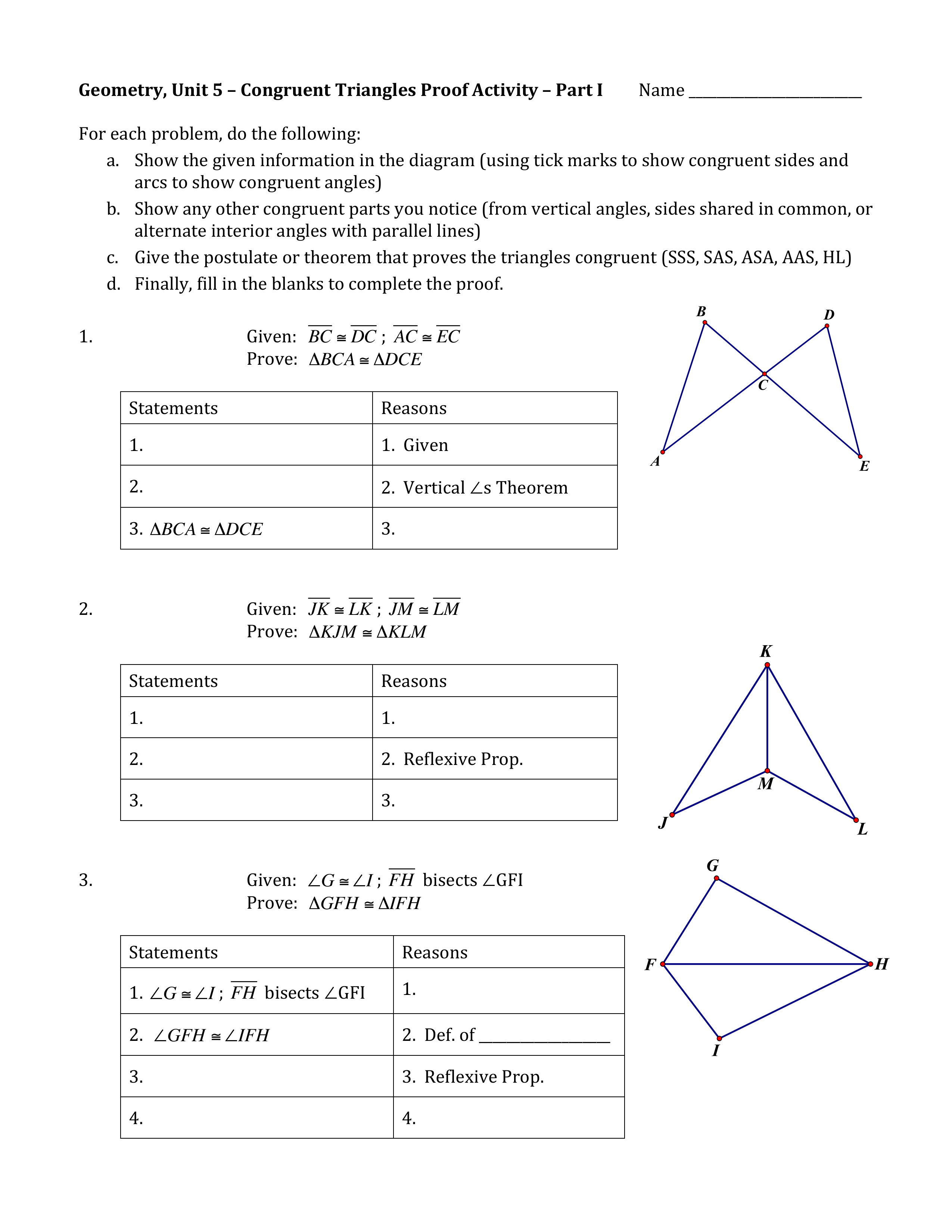 Congruent Triangle Proofs