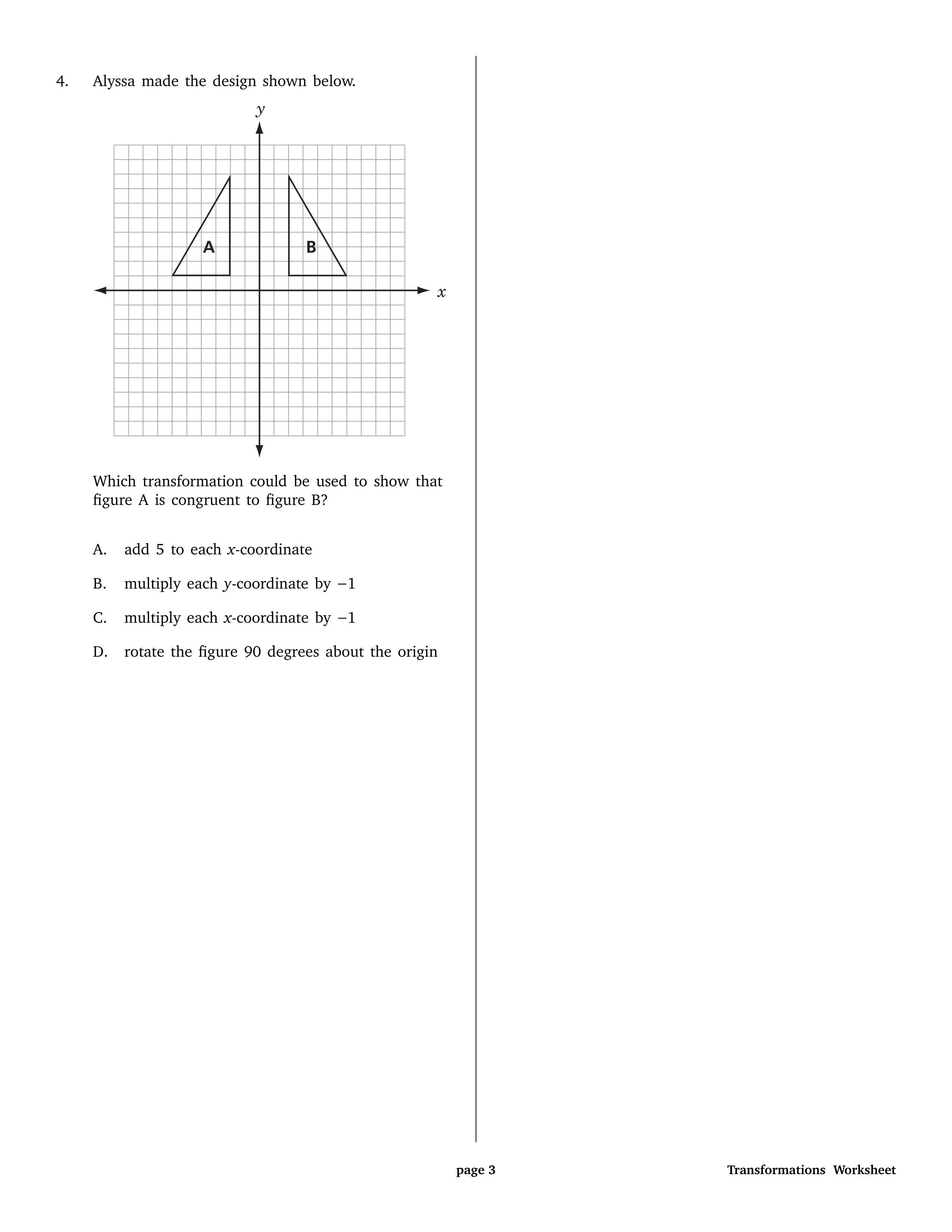 Transformations Review Worksheet