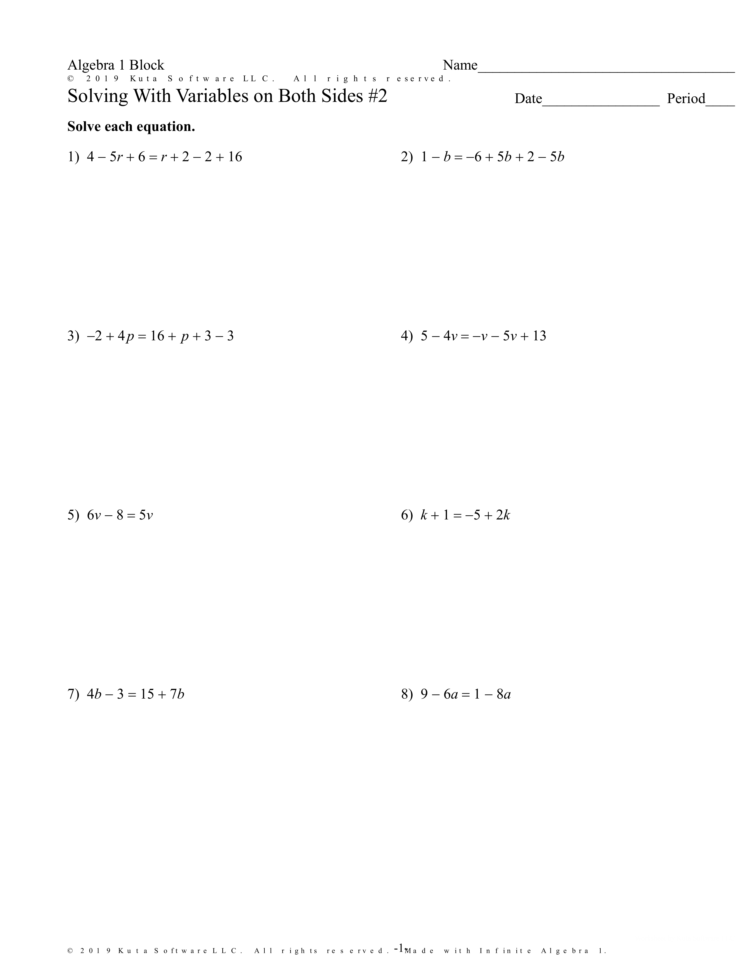 2 Solving Equations With Variables On Both Sides