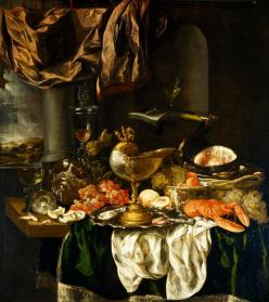 Abraham Hendricksz van Beyeren, Still Life with Landscape, c. 1620–1690, Dallas Museum of Art, The Karl and Esther Hoblitzelle Collection, gift of the Hoblitzelle Foundation