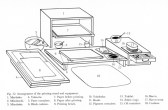 Diagram of traditional Japanese printmaking setup.