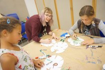 Kristin and campers make zombie masks in the studio.