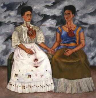 Frida Kahlo, The Two Fridas (Las dos Fridas), 1939, oil on canvas, Mexico, INBA, collection Museo de Arte Moderno © 2017 Banco de México Diego Rivera Frida Kahlo Museums Trust, Mexico, D.F. / Artists Rights Society (ARS), New York