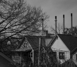Smokestacks Over the Rooftops on Willy Street