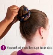 Step 5 scarf bun