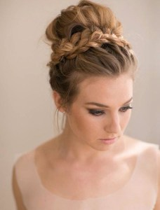 Holiday hair braided top knot