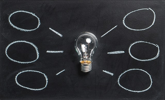 Mind map image with lightbulb as central idea and 4 sub-topic entries
