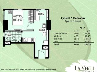 La verti Residences - 1bedroom unit