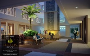 outlook ridge residences atrium garden with fire place in Baguio City