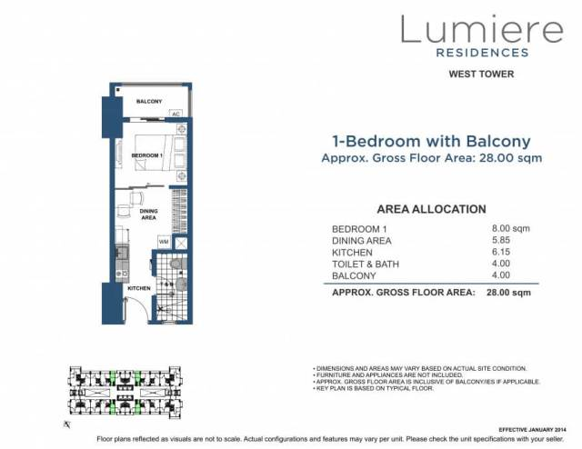 Lumiere 1 Bedroom Unit Layout