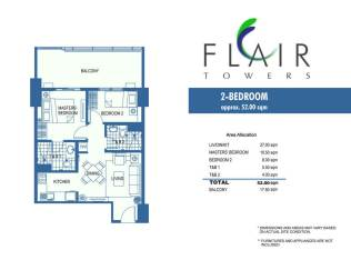 52 sqm 2BRM with balcony stnd Flair Towers
