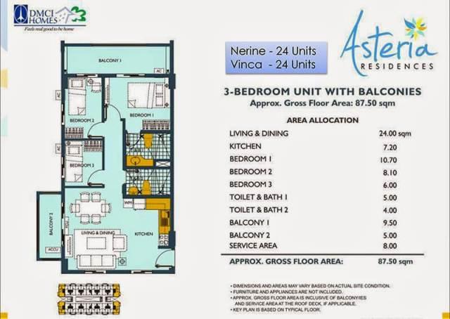 Asteria Residences 3-Bedroom 87.50sqm