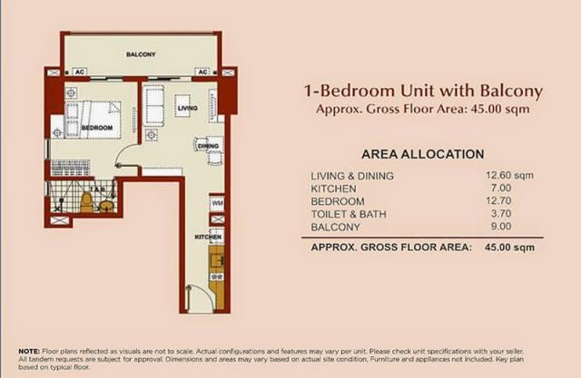 Brio Tower 1-Bedroom Unit 45.00 sqm.