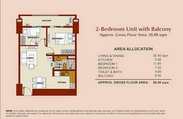 Brio Tower 2-Bedroom Unit C 58.00 sqm.