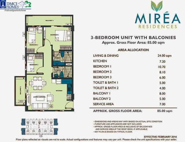Mirea Residences 3-Bedroom Unit 85.00 sqm.
