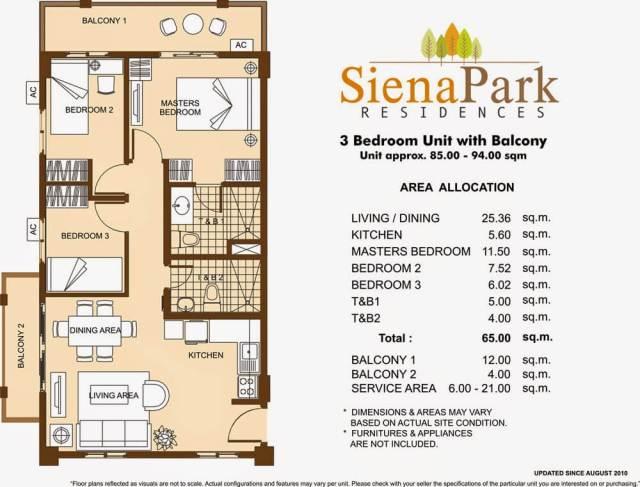 Siena Park Residences 3-Bedroom Unit 65.00 sqmeters