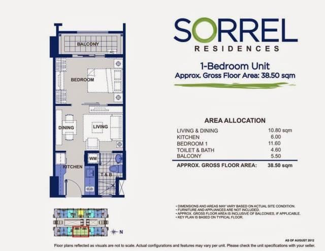 Sorrel Residences 1 Bedroom Unit Layout