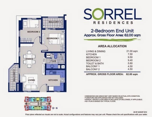 Sorrel Residences 2 Bedroom End Unit Layout