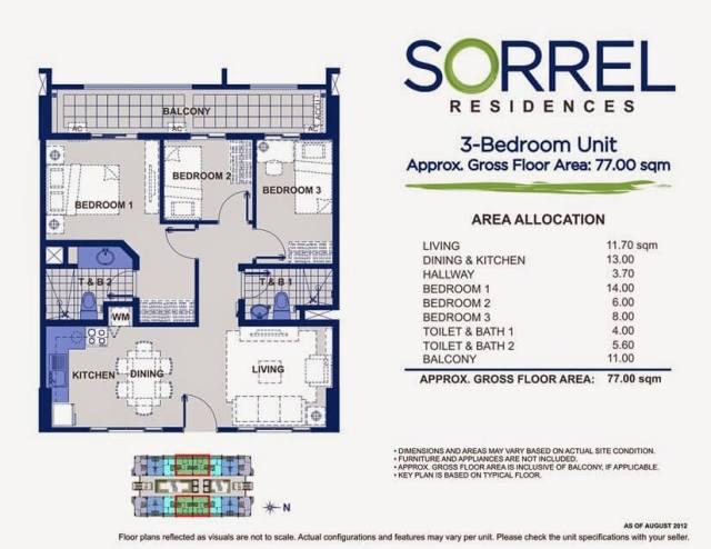SORREL RESIDENCES 3 Bedroom Unit Layout