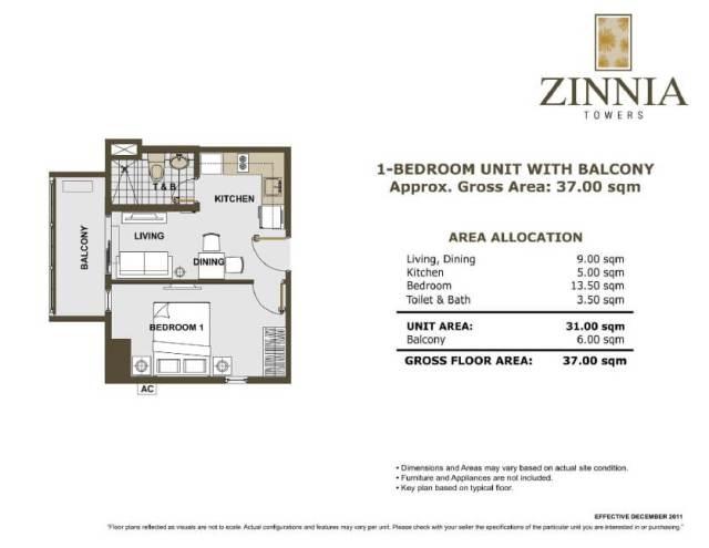 zinnia towers 1bedroom with balcony 37sqm