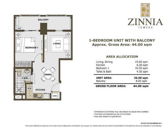 zinnia towers 1bedroom with balcony 44sqm