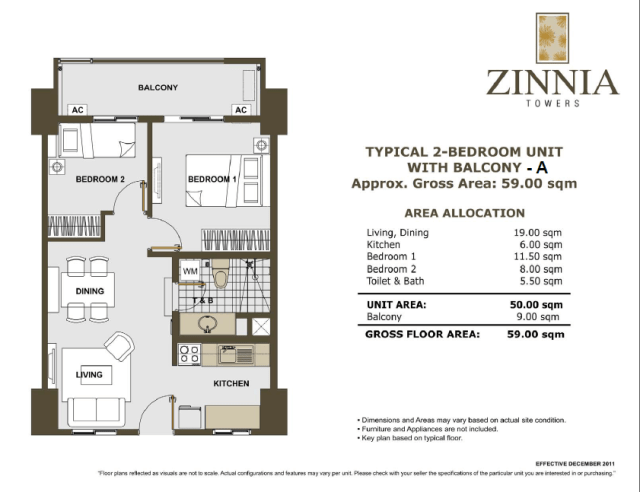 zinnia towers 2bedroomA with balcony 59sqm