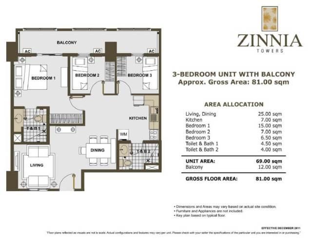 zinnia towers 3bedroom with balcony 81sqm