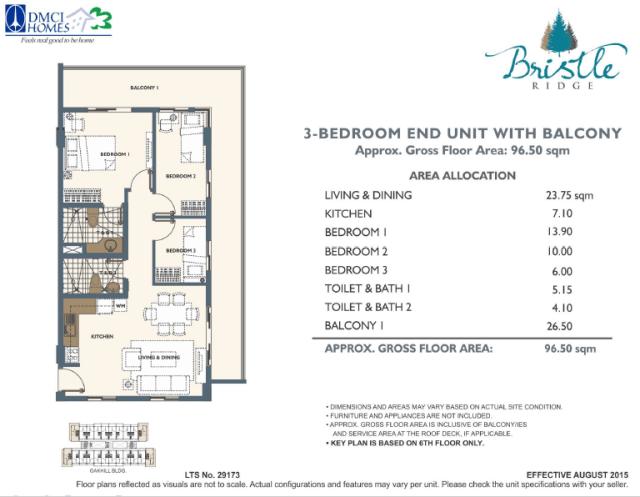 3 Bedroom in Bristle Ridge DMCI Baguio City 96.5 sq meters
