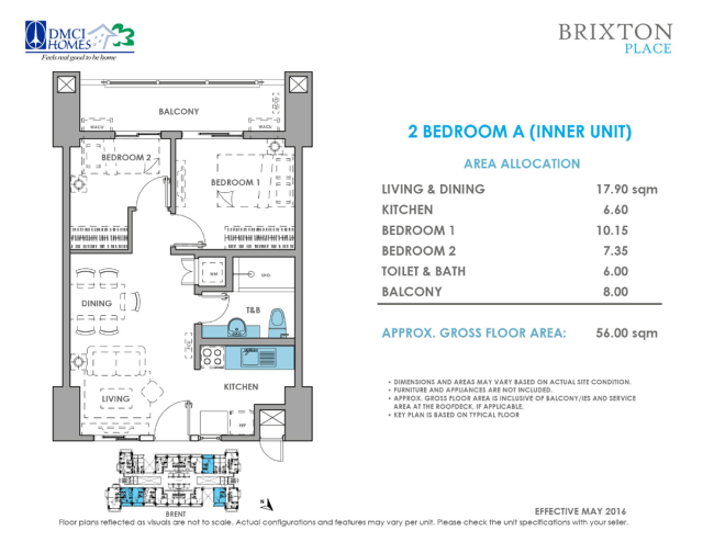 Brixton Place 2 Bedroom A 56 sq meters