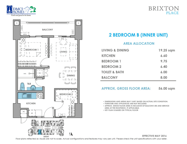 Brixton Place 2 Bedroom B 56 sq meters
